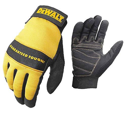 Dewalt DPG20M All Purpose Synthetic Leather Palm Spandex Back Velcro Wrist Work Glove, Medium