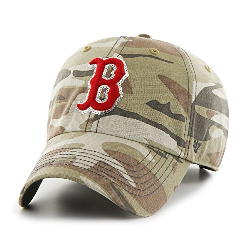 MLB Boston Red Sox Women's Sparkle Camo Clean Up Hat, Women's, Faded Camo