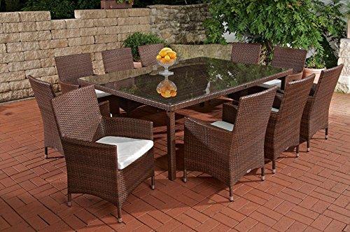 CLP Poly-Rattan Garten Sitzgruppe TROPEA (10 x Polyrattan Stuhl Julia + Tisch 210 x 50 cm) INKL. bequemen Sitzauflagen, 4 Rattan-Farben wählbar braun-meliert