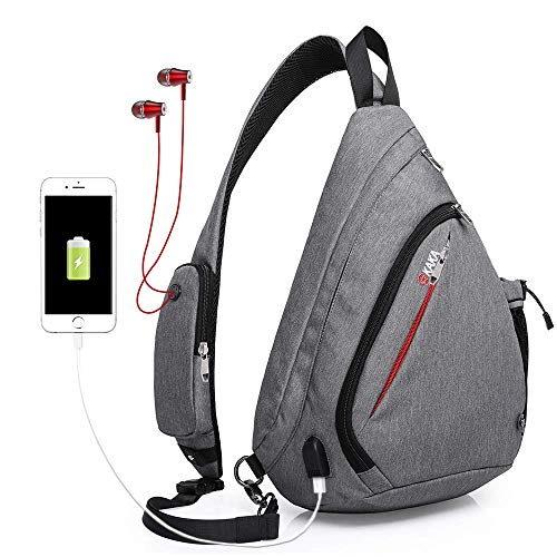 KAKA Sling Bag for Travel Anti Theft Crossbody Backpack for Men Women(gray)