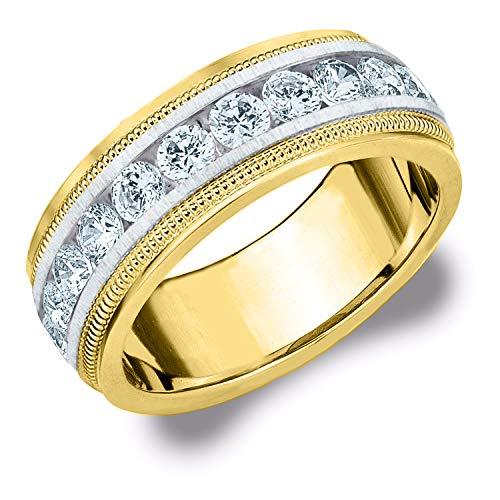 1.50CT Heritage Men's Diamond Ring in 14K Two Tone Gold Satin Finish - Finger Size 12 (Tone Tiffany Two Ring)