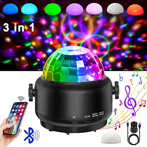 Disco Lights Bluetooth Speaker,Party Lights Sound Activated,3 in 1 USB Remote ControlHalloween Mini Disco Ball Light,LED Night Light for DJ,Xmas Parties,Pool,Club,Home,Church,Karaoke,Wedding