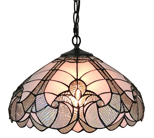 Amora Lighting AM297HL16 Tiffany Style White Hanging Lamp 16 Inches Wide, 16