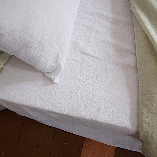 LinenMe Stone Washed Bed Linen Fitted Sheet, 60 by 80 by 14-Inch, Optical White 519 2BYHmrLIL