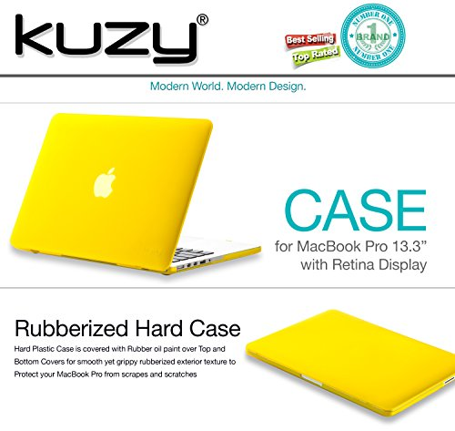 Kuzy Retina 13 Inch Yellow Rubberized Hard Case For Macbook Pro 13 3 Quot With Retina Display