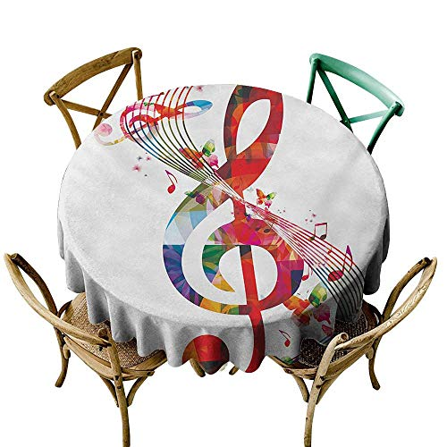 firee Easy Care Tablecloth Music Artwork with Musical Notes Rhythm Song Ornamental in Vibrant Colors Fantasy Theme Indoor Outdoor Camping Picnic D54 ()