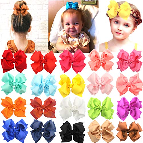 - 4 Inches Boutique Double Layer Hair Bows Alligator Clips Grosgrain Ribbon Bowknot Baby Girls Kids Children Hair Clips 20 Colors