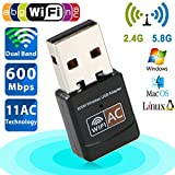 USB Wifi Adapter Ac 600Mbps Dual Band 150Mbps+5G 433Mbps USB WiFi Dongle Wireless Network Card Adapter 802.11ac for Laptop Desktop PC Supports Windows 10/8/7/Vista/XP, Mac OS X