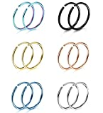 Thunaraz 6 Pairs Non Pierced Stainless Steel Fake Nose Ring Septum Lip Helix Cartilage Tragus Ear Clip Hoop Rings 20G