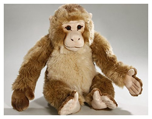Carl Dick Macaque Monkey sittingn, 14 inches, 28cm, Plush Toy, Soft Toy, Stuffed Animal 2971 (Monkey Macaque)