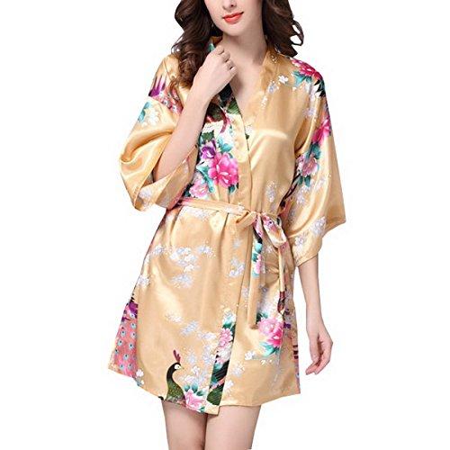 Ahatech Satén Pijama lencería kimono corto de satén de estampado floral para Mujer champán