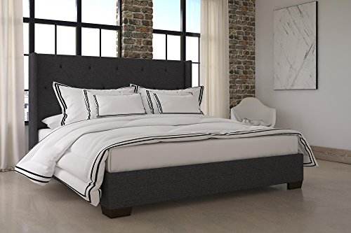 DHP Eden Wingback Upholstered Platform Bed with Vintage Modern Style and Wooden Slat Support, King Size - Grey Linen