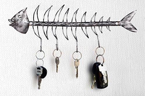 Crafia Decorated Wall Mounted Fish Skeleton Shape Iron Key Holder and Key Hooks | Decorative Unique Key Organizer with 4 Hooks