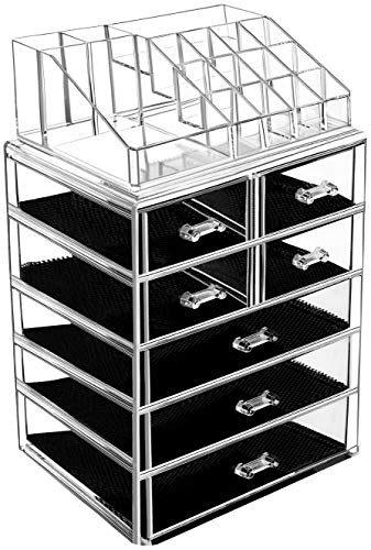 BELANT Makeup Organizer with Bigger Drawers 2 Pieces Acrylic Jewelry and Cosmetic Storage Display Box, Fit for Most Makeup Palettes