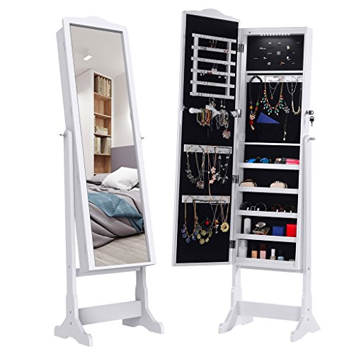 Interior Mirrored Doors - LANGRIA 10 LEDs Lockable Jewelry Cabinet Full-Length Mirrored Jewelry Armoire Free Standing, 5 Shelves, Organizer for Rings, Earrings, Bracelets, Broaches, Cosmetics, White