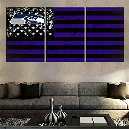 (American Football Team Seahawks Pictures USA Flag Paintings for Living Room Patriotism Artwork 3 Panel Canvas Wall Art House Decorations Wooden Framed Ready to Hang Posters and Prints(60''Wx28''H))