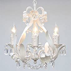 """White Wrought Iron Floral Chandelier Crystal Flower Chandeliers Lighting H15"""" X W11"""" - Perfect for Kids' and Girls Bedrooms!"""
