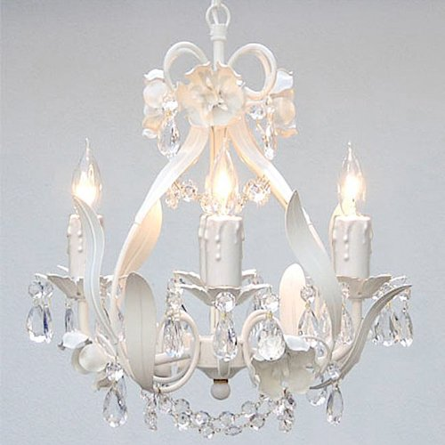 White Wrought Iron Floral Chandelier Crystal Flower Chandeliers Lighting H15