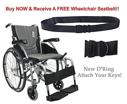 New Karman S-Ergo 125 ( S-Ergo125F16SS ) Ergonomic Wheelchair with Flip-Back Armrest and Swing Away Footrest in Silver, Fixed Wheel, 16 Seat Width by Karman (Flip Away Wheelchair Armrest)
