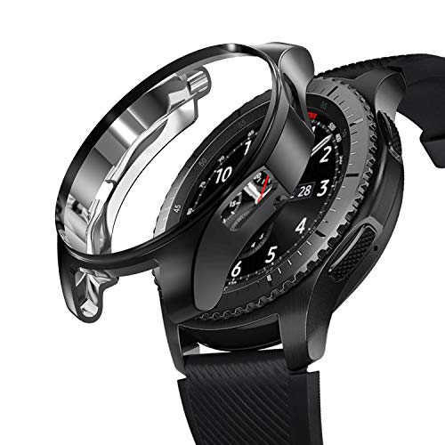 SIRUIBO Case for Samsung Gear S3 Frontier SM-R760, TPU Scractch-Resist Frame Protective Cover Shell for Samsung Gear S3 Frontier/Classic Galaxy Watch 46mm SM-R800 Smartwatch, Black
