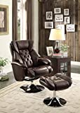 Homelegance 8548BRW-1 Swivel Reclining Chair with Ottoman, Dark Brown Bonded Leather Match