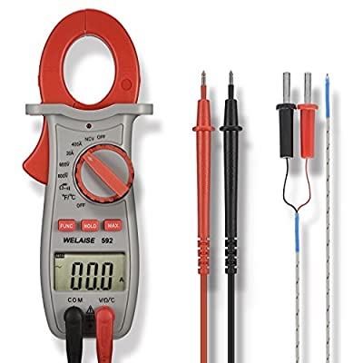 Clamp Multimeter, WELAISE Auto-Ranging Digital Clamp Meter NCV with AC/DC Voltage Resistance Test Temperature Scanners Hand Tools