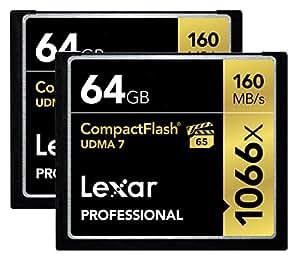 Lexar Professional 1066x 64GB CompactFlash card LCF64GCRBNA10662 - 2 Pack
