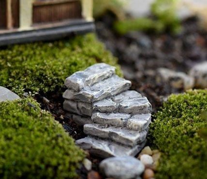 Light Grey : 2pcs Stone steps Road Small staircase fairy garden miniatures for terrariums ornament resin manualidades mini jardim