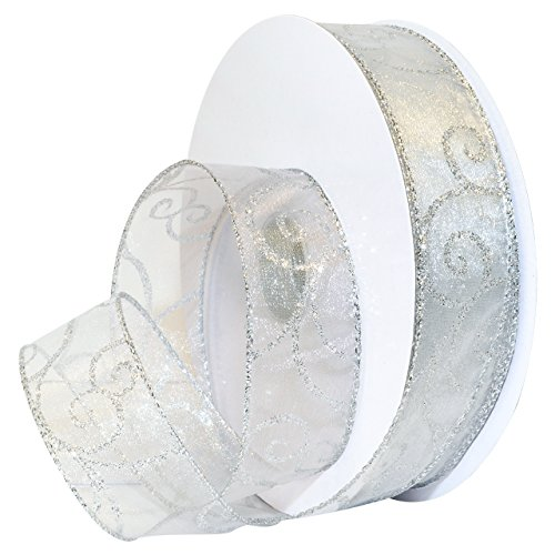 (Morex Ribbon Swirl Wired Sheer Glitter Ribbon 1-1/2 inch by 50 yards, White/Silver)