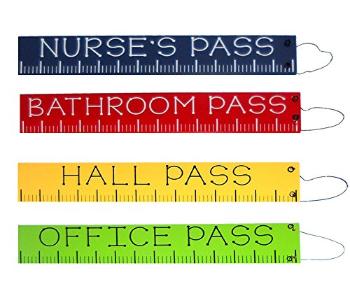 Set of 4 Wooden School Passes Ruler Themed Office Hall Nurse and Bathroom -
