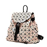 Ms. Laser Rubik's Cube Backpack Patent Leather Ling Ge Travel Large Backpack Japanese Geometry Folding Handbags,Pink-OneSize