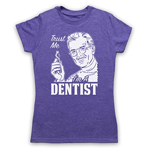 Trust Me I'm A Dentist Funny Work Slogan Camiseta para Mujer Morado Clásico