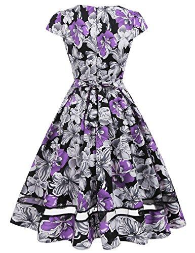 ... ACEVOG Damen 50s Vintage Rockabilly Kleid Festliches Kleid Blumenkleid  Partykleider Knielang mit Netzeinsatz Violett R7SXhQ ... e330930585