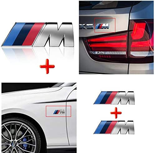 HUAYT M Power Badge Tri Color Emblem Sticker3Pack Car Rear Trunk Fender Side Emblem Badge Decal Logo Compatible for All BMW Series (M-Colored for BMW)