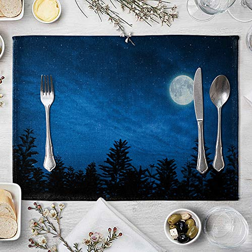 memorytime Night Starry Sky Linen Placemat Kitchen Dining Table Mat Bowl Pad Coaster Decor Kitchen Dining Supplies - 9# by memorytime (Image #6)
