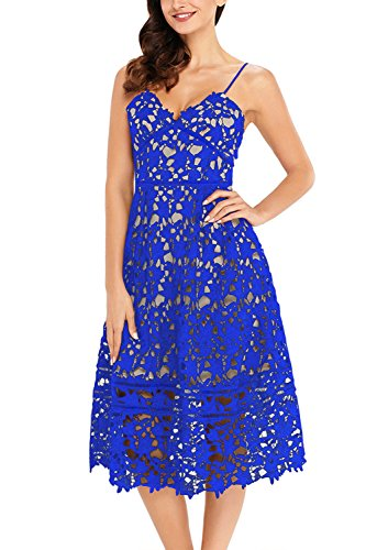 GOSOPIN Women A Line Lace V-Neck Cocktail Party Midi Skirt Spaghetti Strap Dress Medium Royal Blue