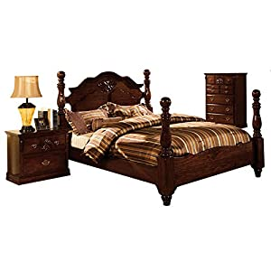 Tuscany Dark Pine Four Poster Cal King Bed