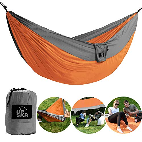 Travel Hammock Single Parachute - UPSKR Camping Hammock Double & Single Waterproof Lightweight Parachute Heavy-Duty Carabiners with Tree Straps - USA Based Hammocks Brand Gear, Indoor Outdoor Backpacking Survival & Travel, Portable