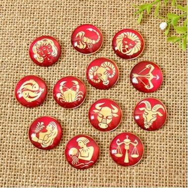 Mix Red 12 Constellation Photo Round Glass Cabochons 8mm-35mmflatback Jewelry Accessories for Earrings Bracelets
