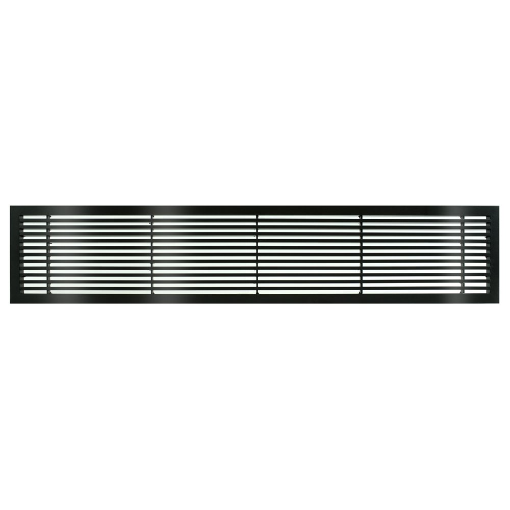 Architectural Grille 200044805 AG20 Series 4'' x 48'' Solid Aluminum Fixed Bar Supply/Return Air Vent Grille, Black-Gloss