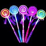 ZHOUBA LED Light up Flashing Fairy Magic Wand Princess Lollipop Stick Girl Xmas Gift (Random)