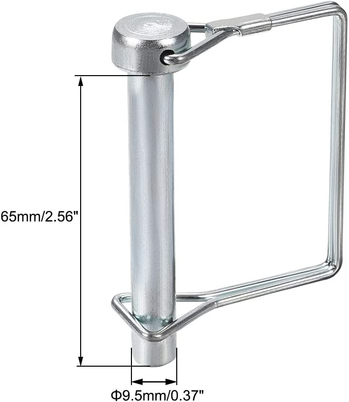 uxcell Shaft Locking Pin 9.5mm x 65mm Coupler Pin for Farm Trailers Wagons Lawn Garden in Square
