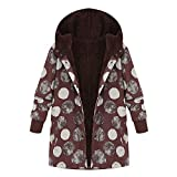 GOVOW Oversized Sweaters for Women Plus Size Winter Warm Outwear Floral Print Hooded Pockets Vintage Coats