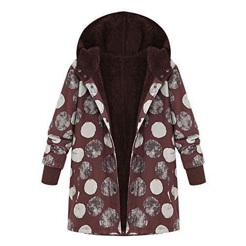 XOWRTE Women's Oversize Pockets Vintage Floral Print Winter Warm Hooded Jacket Overcoat Outwear ()