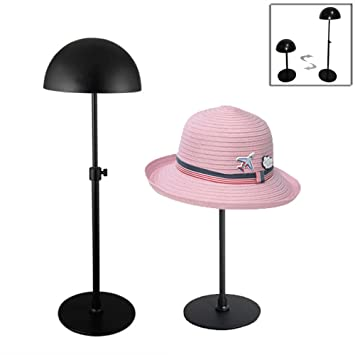 High Quality Queens Adjustable Height Hat Stand Metal Dome Shape Design Tabletop Wig  Display Rack