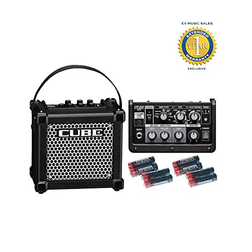 Roland M-CUBE-GX Micro Cube GX 3W 1x5' Guitar Combo Amp Black and 8 Universal Electronics AA Batteries Bundle with 1 Year Free Extended Warranty by Roland