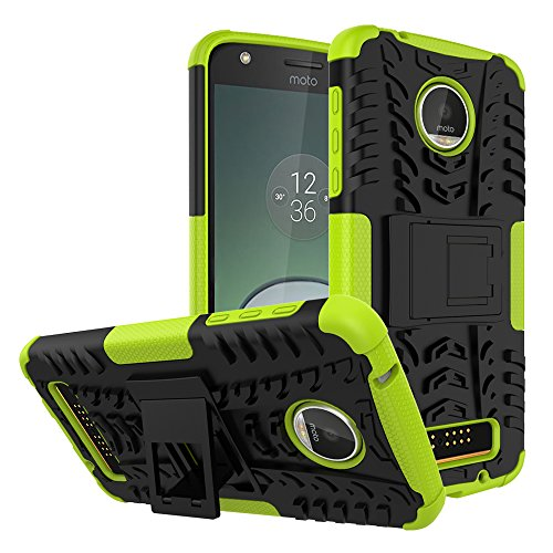 se,Yiakeng Shockproof Impact Protection Tough Rugged Dual Layer Protective Case Cover with Kickstand for Motorola Moto Z Play Droid (Grreen) ()