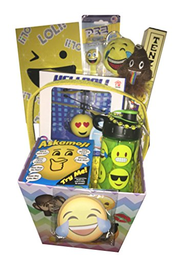 Deluxe Emoji Easter Basket for Girls, Tweens, Teens - Smiley Tenzi Dice, Water Bottle and HeliBall - for Birthday, Get Well Soon, Christmas or Just Because