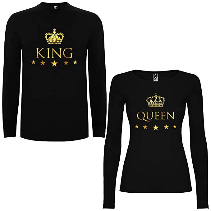 Pack de 2 Camisetas Negras Manga Larga para Parejas King y Queen Dorado (Mujer Tamaño