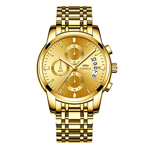 Gold Plating Men's Analog Quartz Mutifunctional Watches for Man Stainless Steel Strap Gold Face Wristwatch Father's Day Gift